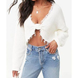 White Ribbed Cropped Sweater - Self Tie Closure